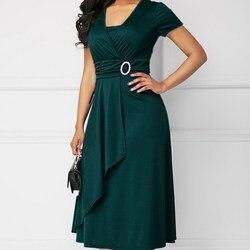 Plus Size kobiet krótki rękaw, dekolt V zmarszczek diamenty zdobione Midi Sukienka elegancka pani urząd sukienki Sukienka zielona Sukienka 5XL 3