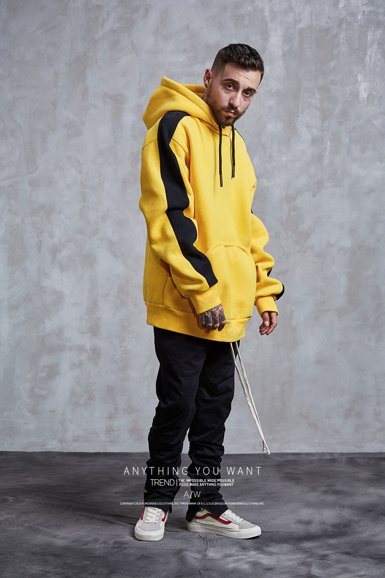 Aolamegs Hoodies Men Side Striped Hood High Street Pullover Cotton Fashion Hip Hop Streetwear Casual Big Pocket Hoodie Autumn (10)