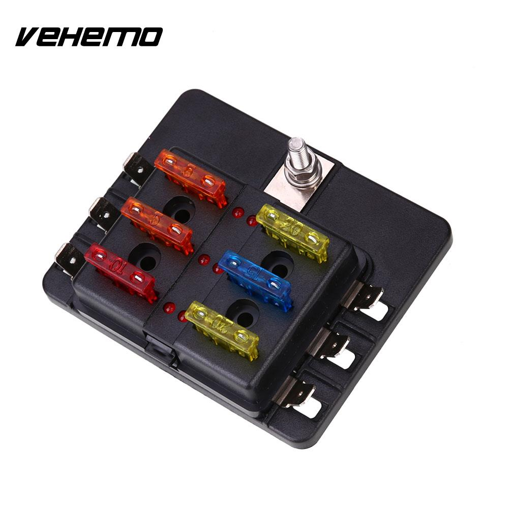 Vehemo Fuse Box 6Way LED Indicator Light Safety PC Wiring Terminal High Quality ABS