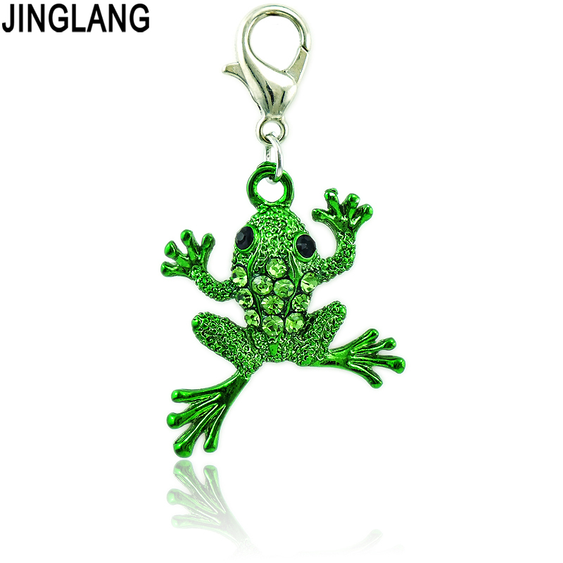 JINGLANG Fashion Chidren Gifts Lobster Clasp Charms Dangle Rhinestone Frog Animals Pendants For Jewelry Making Accessories