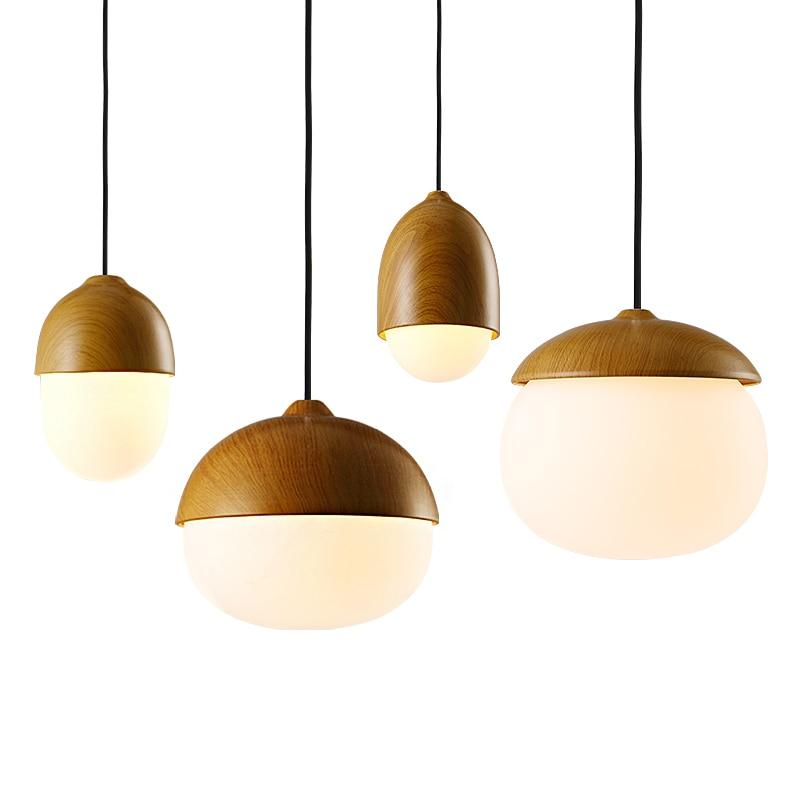 One combo Nordic LED Pendant Light simplicity AC220V input 3W warm led bulb Glass Ball wood Hanging Lamp Light Art Decoration