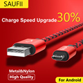Кабель Micro Usb SAUFII нейлон Плоским USB Синхронизации Данных провода капа 5 В 2А Быстрая Зарядка Для Samsung HTC Sony Зарядное Устройство кабель