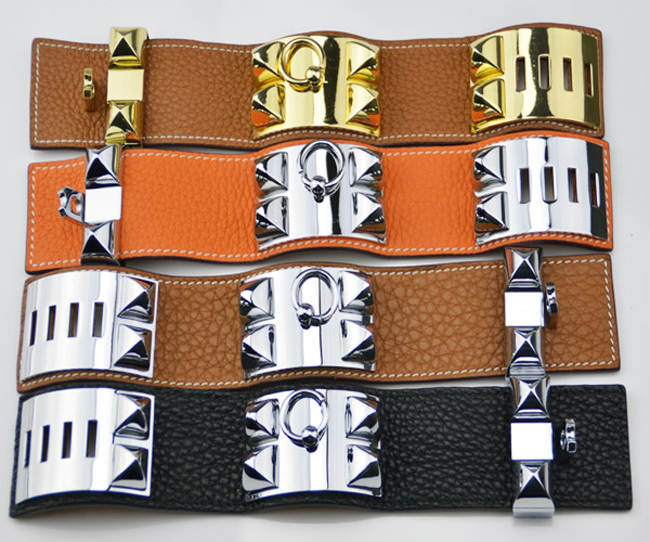 Factory wholesale foreign trade H litchi pattern leather four nailed rivet h Bracelet exaggerated punk wind