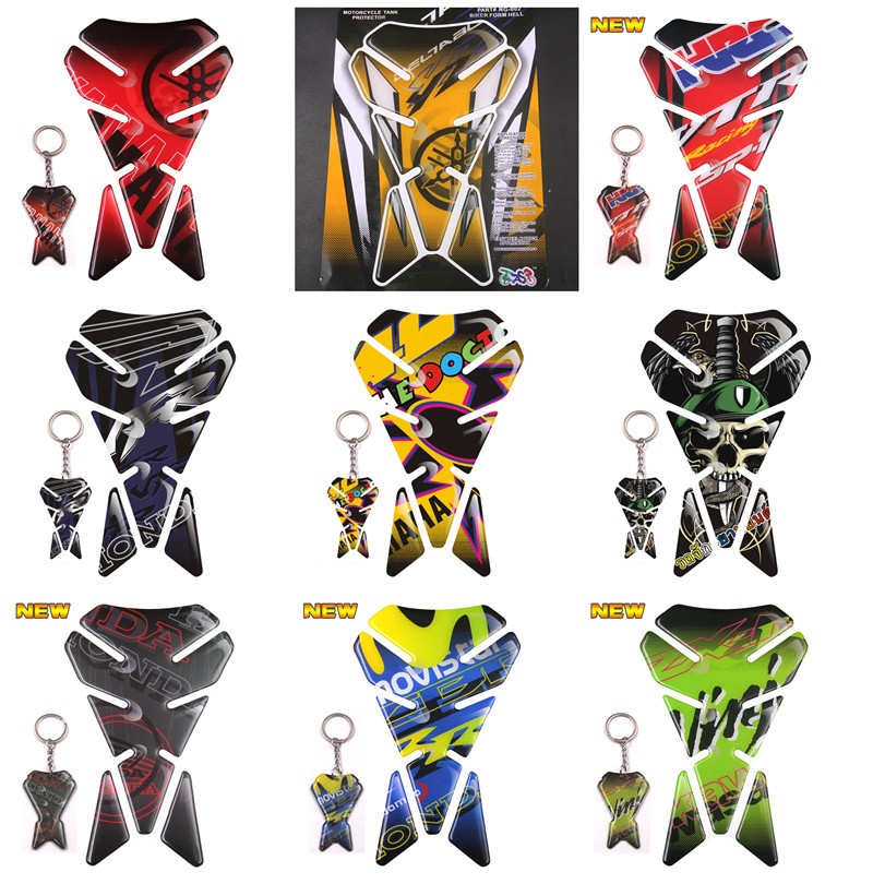 WITH KEYCHAIN MOTORCYCLE TANK PROTECTOR PAD SKULL UNIVERSAL