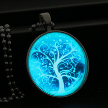 Bead Chain Blue Night Light Tree Necklace Tree of Life Glow In Dark Jewelry Woman Noctilucent Glass Gems Cabochon Birthday Gift(China)
