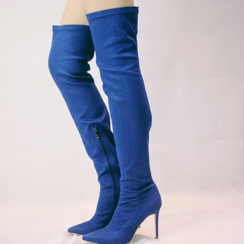 Sexy Fashion Women Denim Over Knee High Boots Pointed Toe Zipper Tight Shoes Casual Thig ...