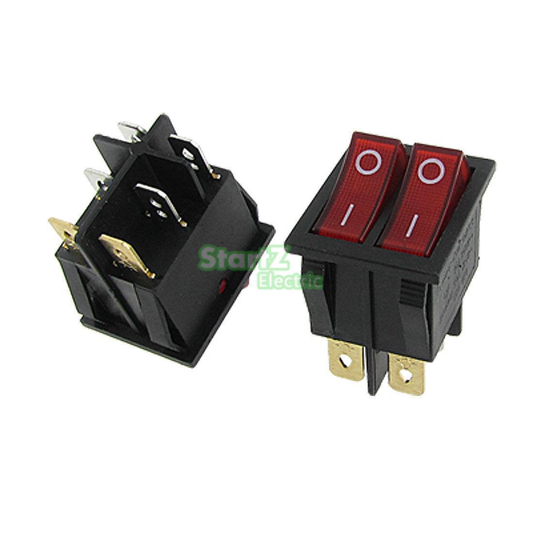 // 5Pcs AC 250V//16A 125V//20A Red Light Illuminated ON//Off DPST 4 Pin 2 Position