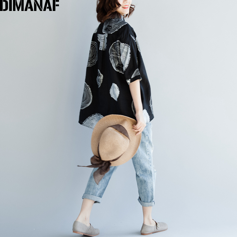 DIMANAF Women Blouse Shirts Plus Size Female Clothing Print Paisley Cotton Thin Basic Tops Loose Half Sleeve Blouse Summer 2018 3
