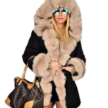 Woman High Quality Luxury Fur Collar Parkas Winter Warm Coat Fashion Lady Outwear High Street Fur Sl
