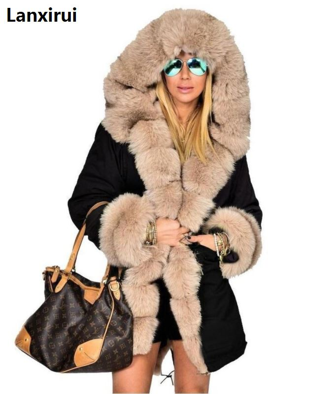 Woman High Quality Luxury Fur Collar   Parkas   Winter Warm Coat Fashion Lady Outwear High Street Fur Sleeve Warm Coat Jackets 5xl