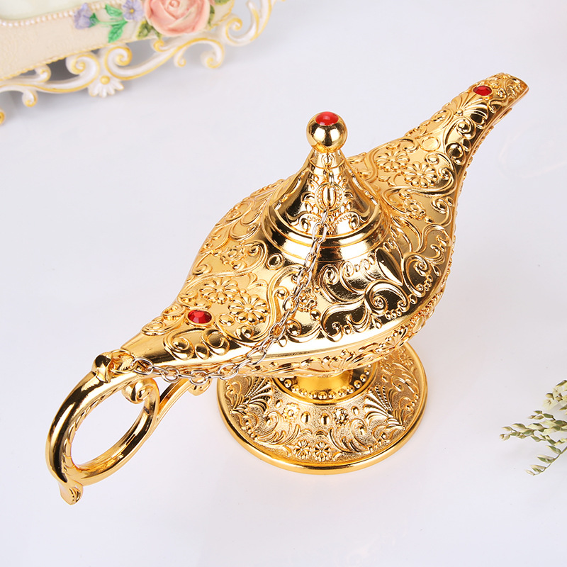 Aladdin Lamp Cosplay Costume Gold Figurines Tin Alloy RetroTea Pot Lamp Carved Lamp Aladdin Magic Genie Light Wishing Pot Decor