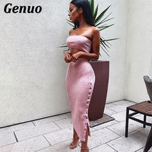 Genuo Two Piece Set Women Sexy Crop Top And Long Skirts 2 Bodycon Outfit For Knitwear Tops Button Skirt