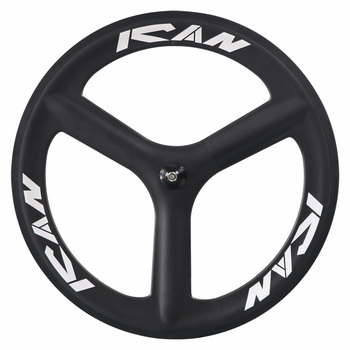 ICAN BIKES 3 spokes clincher carbon wheels for road bike powerway black hub or track bike with 3K or UD matte finished
