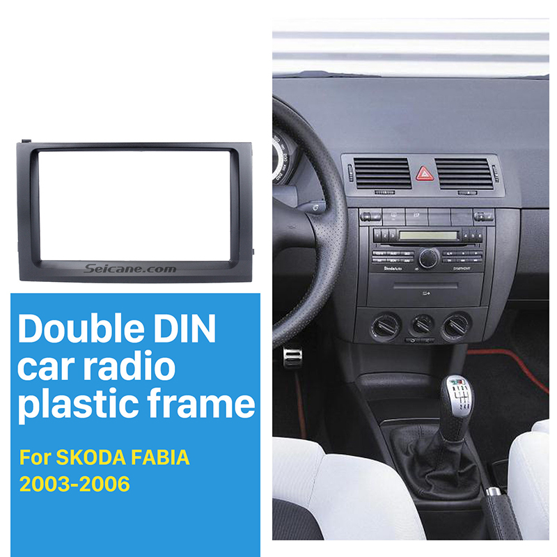 Seicane Double Din Car GPS Radio Panel Fascia for 2003 2004 2005 <font><b>2006</b></font> <font><b>Skoda</b></font> <font><b>Fabia</b></font> Stereo Frame Face Plate Trim Installation image