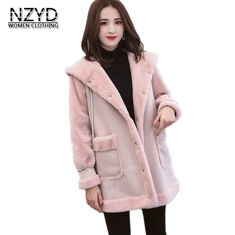 Suelta Capa Nuevo Chaqueta Las Moda pink Invierno Gran Capucha 2018 Caliente Tamaño Coffce Mujeres Light Con Algodón De Del Nzyd1062 Estilo Casual 6rABwp6q