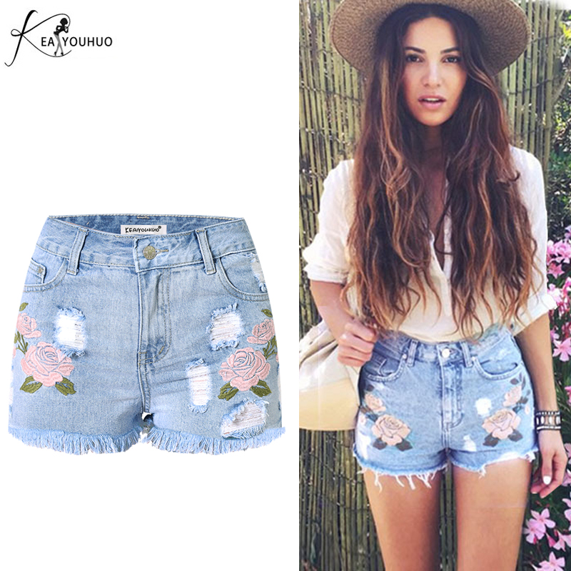 2017 Sunmmer High Waist Tassel Flower Embroidery Jeans Female Light Blue Casual pants Scratched Hole Short Jeans Women Bottom flower embroidery jeans female blue casual pants capris 2017 spring summer pockets straight jeans women bottom a46