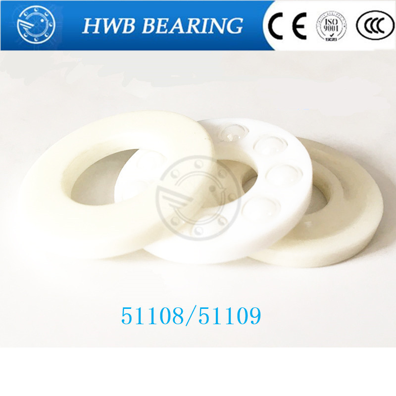 1pcs Free shipping 51108 51109 ZrO2 full ceramic thrust ball bearing 40x60x13 45x65x14mm free shipping 51100 zro2 full ceramic thrust ball bearing 8100 10x24x9 mm no magnetic bearing