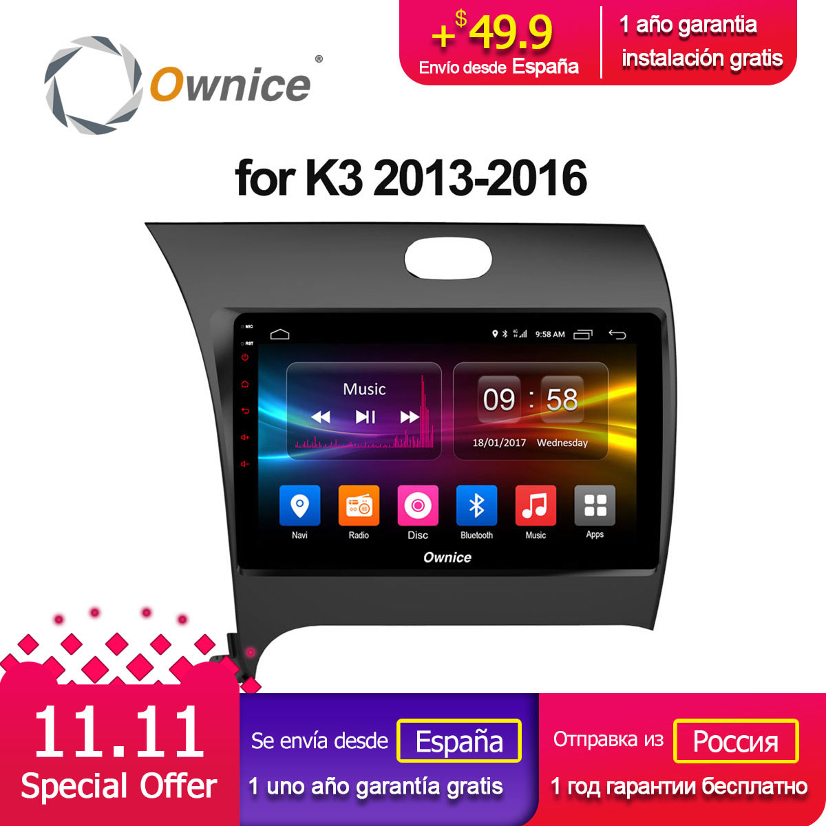 Ownice C500+ G10 Android 8.1 Octa 8 core 2GB RAM 32GB ROM Car Radio GPS dvd player for Kia CERATO K3 FORTE 2013 2014 2015 2016 ownice c500 android 6 0 octa 8 core car dvd player for suzuki grand vitara android 6 0 wifi 4g gps bt radio 2gb ram 32gb rom