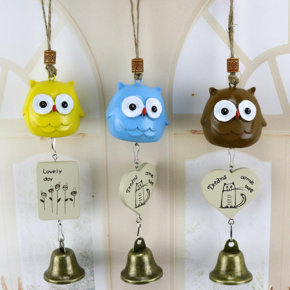 1pc Cute Owl Mushroom Wind Chime Resin Owl Bell Ornaments Home Door Window Decor Wall Hanging