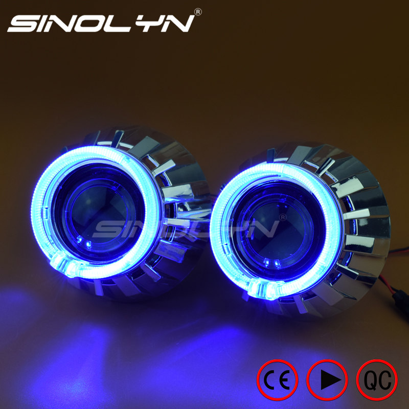 Automobiles LED Angel Eyes Halo HID Bixenon Projector Lens for Headlight 2.5'' Car Accessories Lenses Retrofit DIY H1 H4 H7 2 5inch bixenon projector lens with drl day running angel eyes angel eyes hid xenon kit h1 h4 h7 hid projector lens headlight