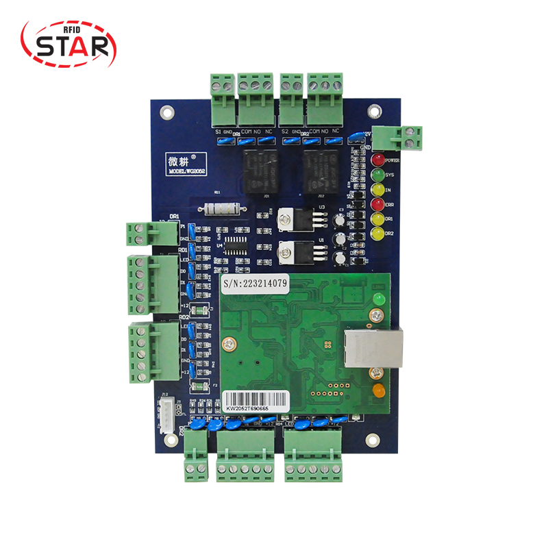 цена на free shipping door RFID access control system RFID TCP/IP Two Door Access Control Board Green Board TCP/IP+Free English Software
