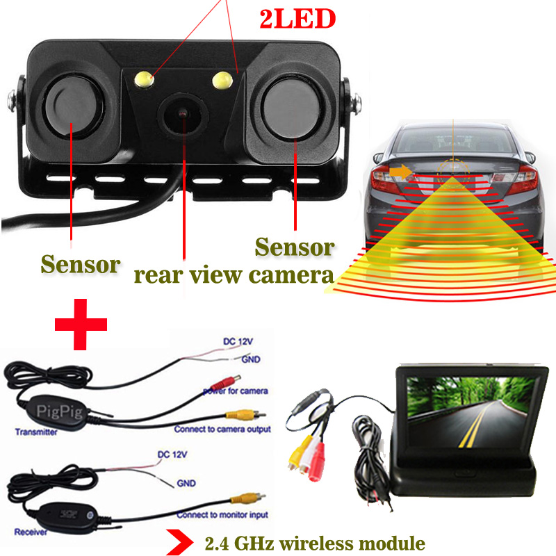 ФОТО universal Wireless 3in1 Parking Assistance Sensor Backup Radar With Rear View Camera + LCD Car Foldable /Rearview Mirror Monitor