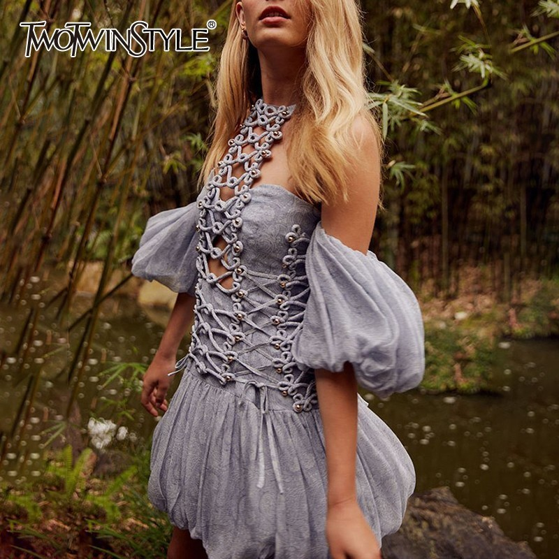 TWOTWINSTYLE Beading Patchwork Sexy Dress For Women Off Shoulder Halter Puff Sleeve Hollow Out Slim Mini