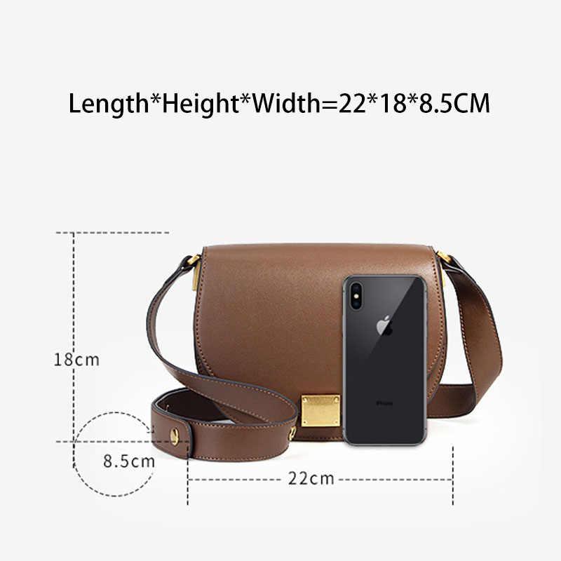 Zency Новая модная сумка 100% натуральная кожа ретро Женская сумка-мессенджер Пряжка подковы простая полукруглая седловидная сумка