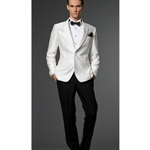 mens formal suit wedding slim fit custom made suits tuxedo white groom wear 2016 white jacket and black pant