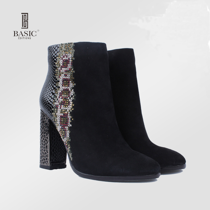 Basic Editions Spring Autumn Women Short Ankle Boots High Heel Suede Leather Rhinestone Embroidery - B252-4R-125 basic editions women dark grey suede leather spike high heel chain accessories winter long boots 1105 1422 aj91
