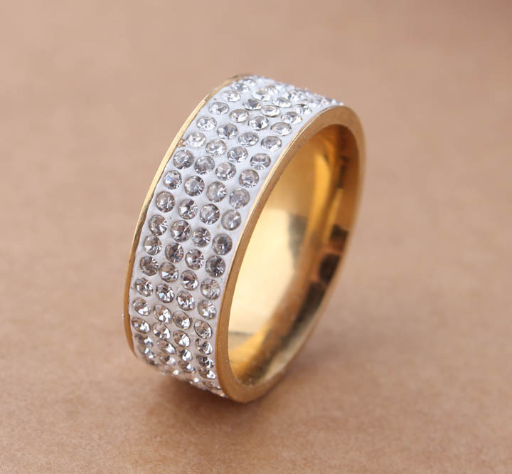 free shipping gold color Color Four 4 Row Lines Full CZ Crystal Jewelry Wholesale Fashion 316L Stainless Steel Ring