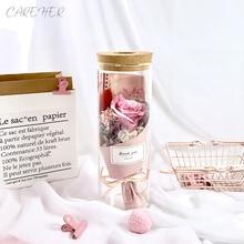 Подарок на день Святого Валентина, День рождения, вечная роза, RGB светильник, разноцветный купол, настоящий консервированный цветок розы для подруги, жены