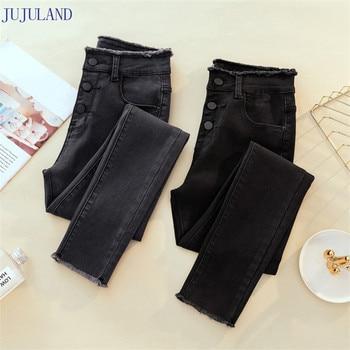 703a78619 JUJULAND Jeans Mujer pantalones de mezclilla de Color negro para mujer Jeans  Donna Stretch bikini femenino flaco pantalones para mujeres pantalones 8253