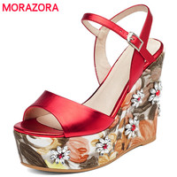 MORAZORA Super Heels Shoes Woman In Summer Genuine Leather Shoes Buckle Platform Women Sandals Party Shoes