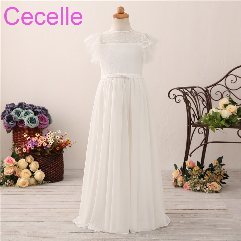 2019 Lace Chiffon Boho   Flower     Girls     Dress   For Wedding Short Sleeves Floor Length Little   Girls   Western First Communion   Dress