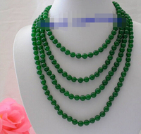 popular long 100 8mm round green crude beads necklace