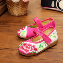 New chinese style fashion beautiful embroidery child canvas shoes dance flats shoes for children foot length 15-21cm