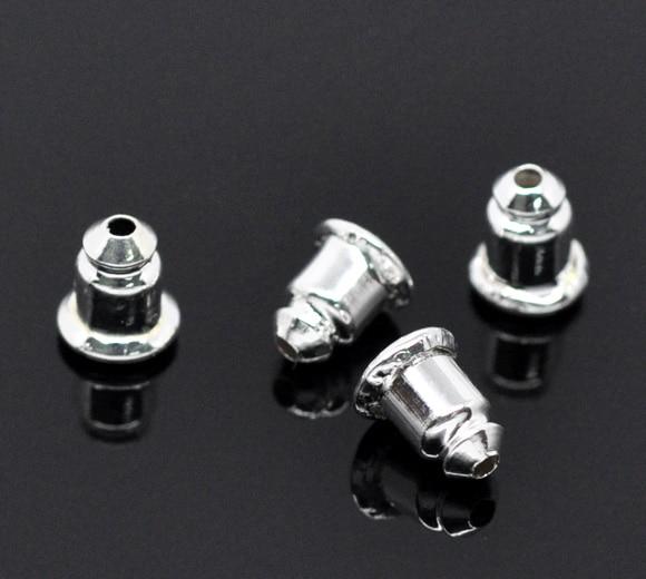 DoreenBeads Copper Earring Findings Ear Nuts Post Stopper Bullet Silver Plated 6mm( 2/8