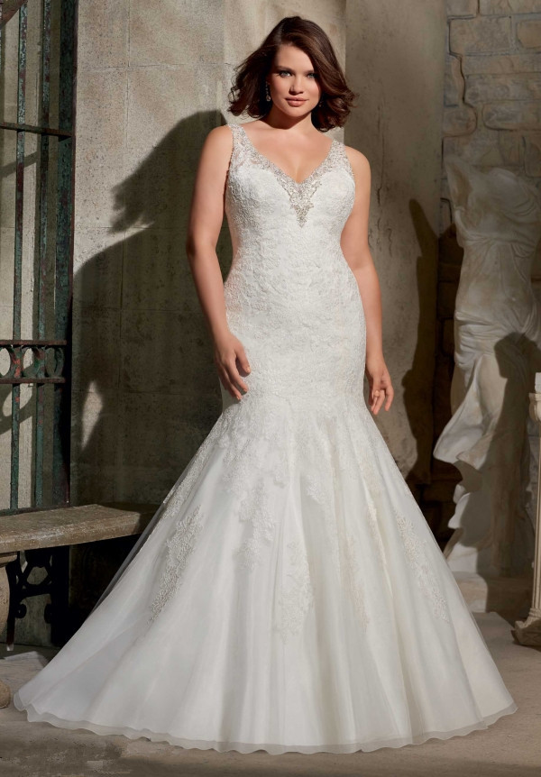 Plus Size Wedding Dresses Mermaid Style V Neck New Arrival Lace ...