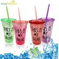 Rüzgar çiçek Yaz Su Şişesi Plastik Ezilmiş Buz Bistratal Renkli Enayi Ile Yaratıcı Drinkware