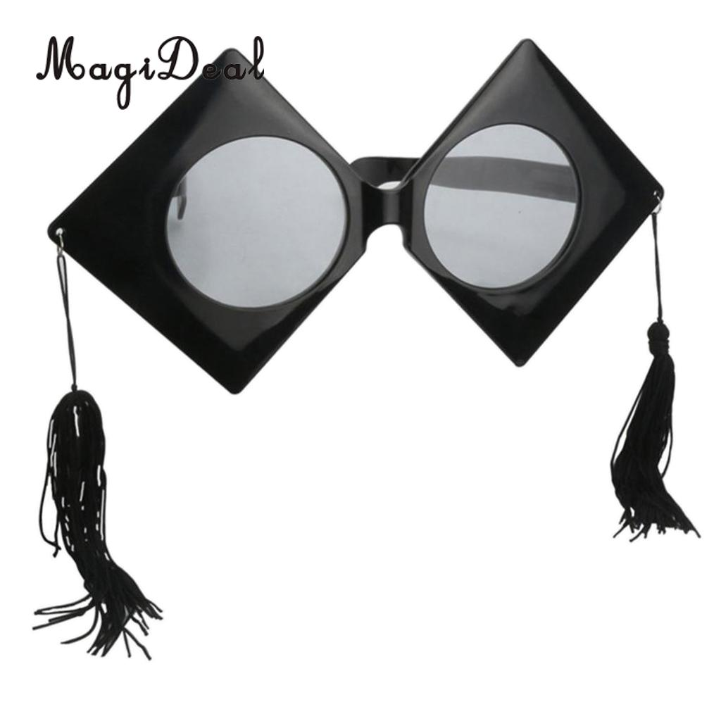 1429ed12ef0c Fashion Large Black Graduation Hat Design Sunglasses with Tassels Party  Photo Props Trencher Cap Glasses Fancy Dress Accessory-in Party Favors from  Home ...