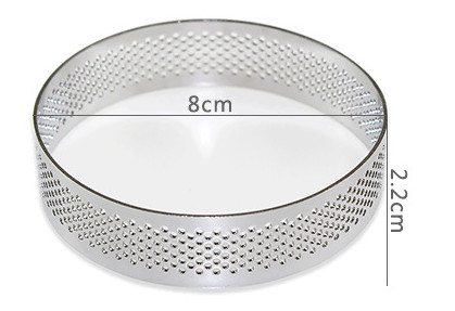 Domilay 10Pcs Circular Tart Rings with Holes Steel Fruit Pie Quiches Cake Mousse Kitchen Baking Mould 7cm