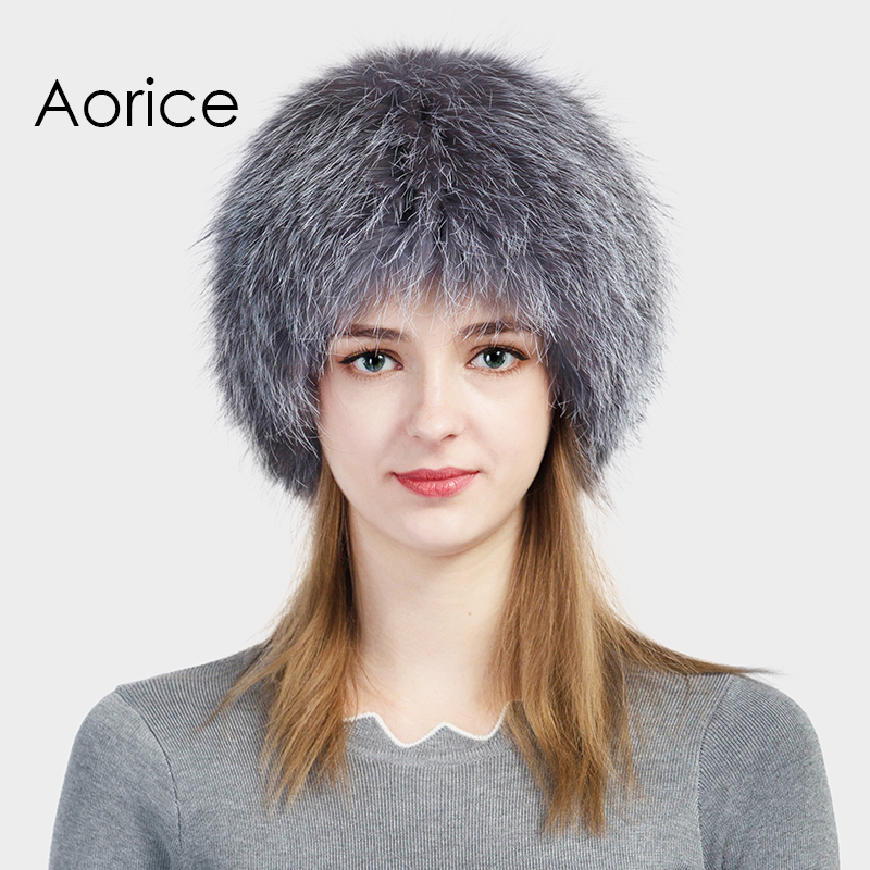 Aorice Brand 2017 New Fashion High Quality Women Real Silver Fox Fur Beanies Warm Snow Cap Winter Hats Comfort Elegant HF701