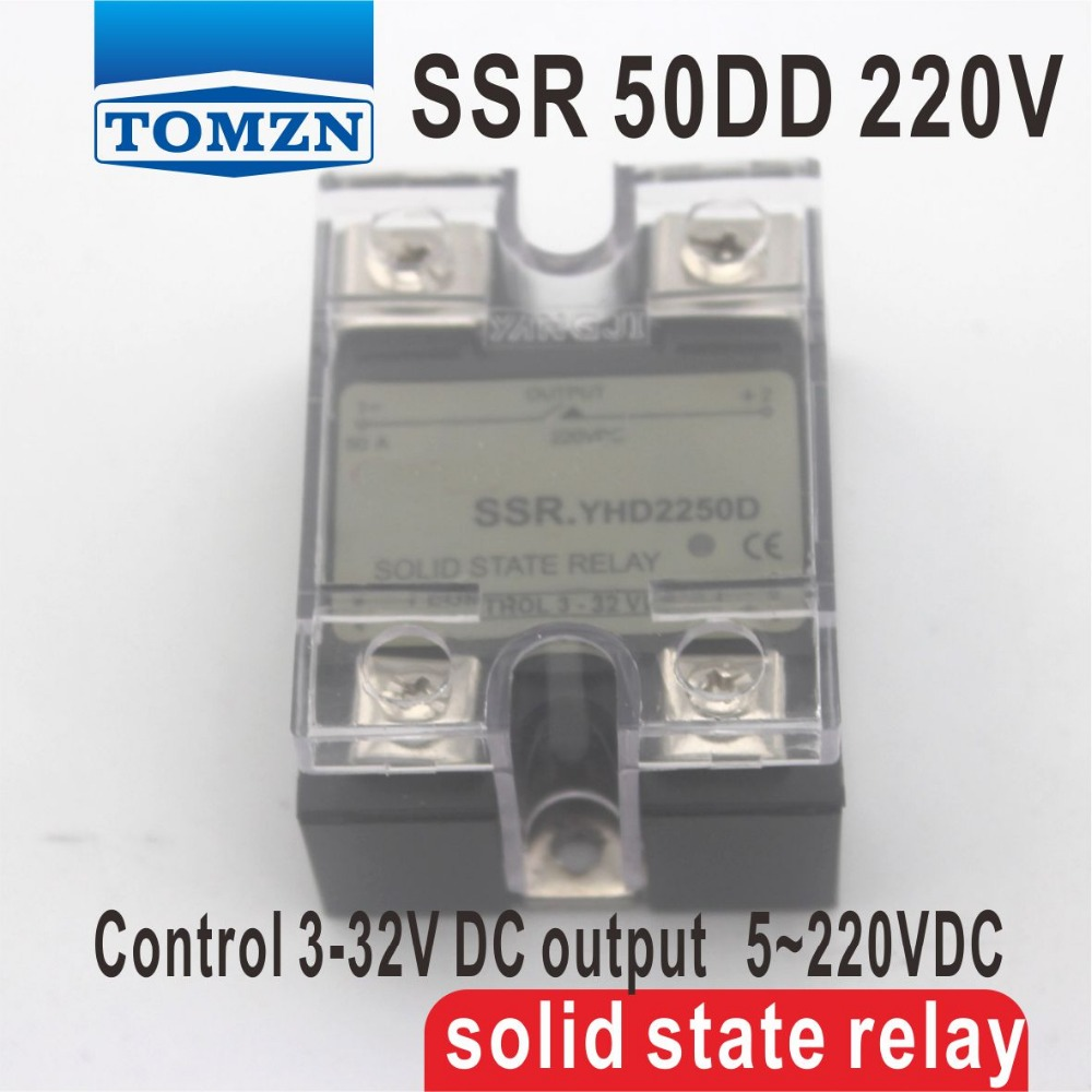 50DD SSR Control voltage 3~32VDC output 5~220VDC DC single phase DC solid state relay 50dd ssr control voltage 3 32vdc output 5 220vdc dc single phase dc solid state relay