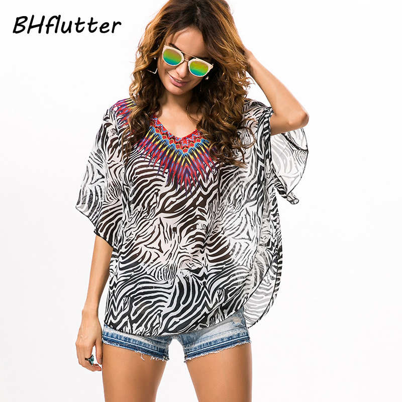 BHflutter 4XL Plus Size Women Clothing 2017 Zebra Print Chiffon   Blouses   Summer Tops Batwing Woman   Blouse     Shirt   Blusa feminina