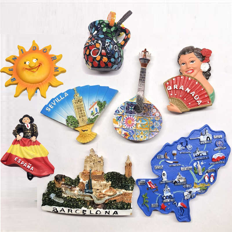 3D Stereo Fridge Magnet Spain Bullfighting Dancer Tourist Attractions Characters Souvenir Refrigerator Magnetic Stickers Decor