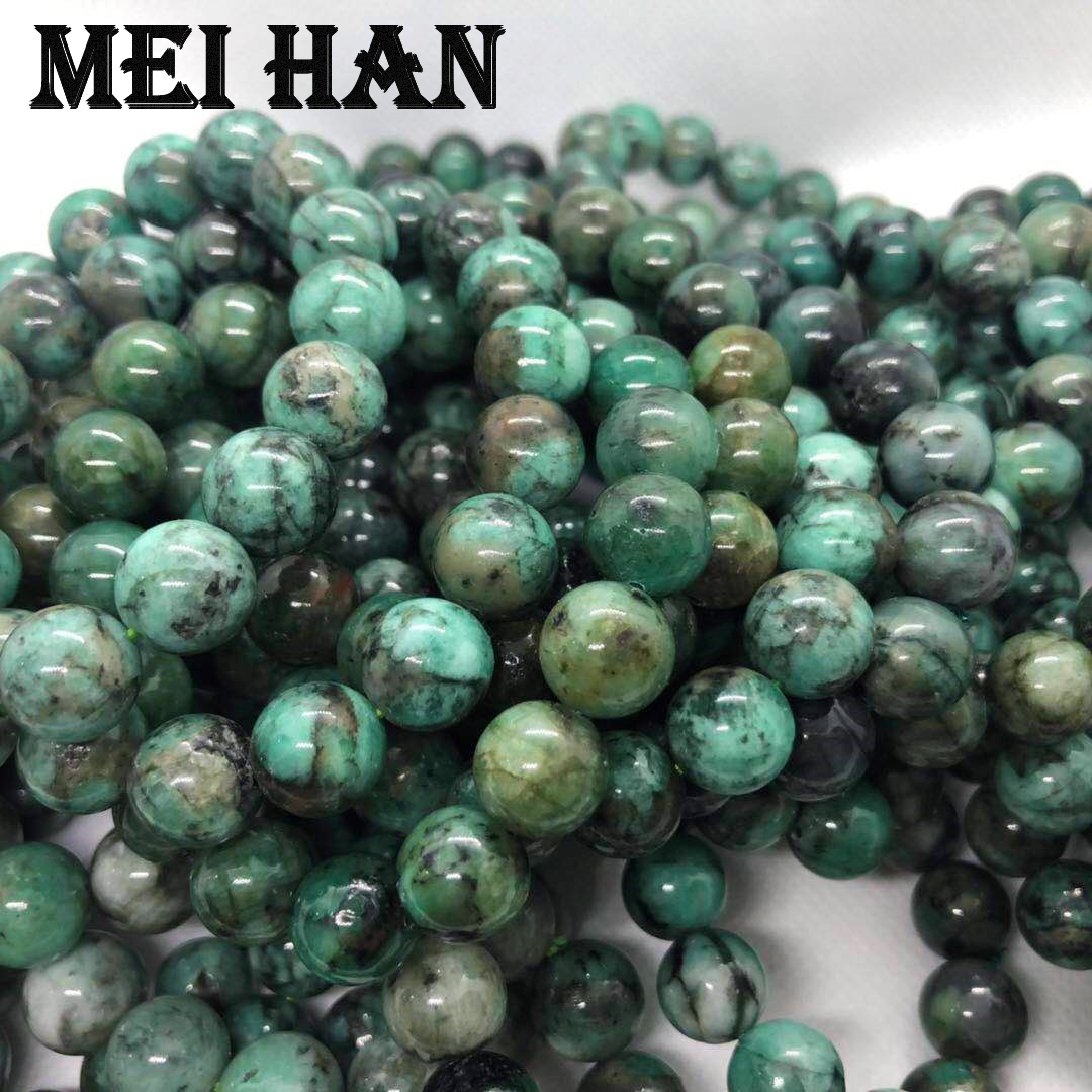 Meihan Free shipping 17 beads set 34g natural 11 12m Emerald smooth round beads for jewerly