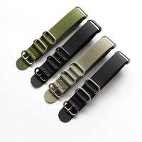 TJP 1 PCS Classique 18mm 20mm 21mm 22mm 24mm Vert Noir Nylon Bracelet NATO Bracelet Avec Anneau Boucle Pour Militaire Montre bandes