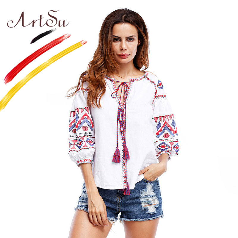 ArtSu Bohemia Ethnic Women Blouse Vintage Floral Embroidery Blusas Shirts For Women Tassel Puff Sleeve Blouses Tops ASBL20164