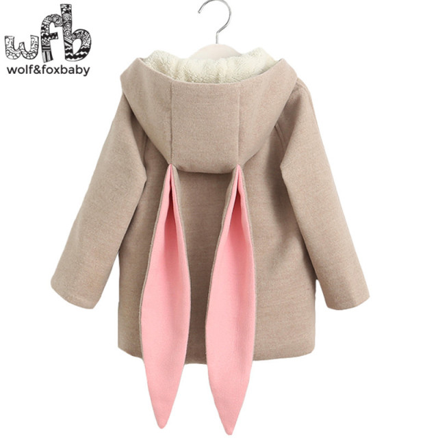 Retail 2-10 years coat velvet full-sleeves Warm cartoon Rabbit Ear Hooded kids children spring autumn fall winter